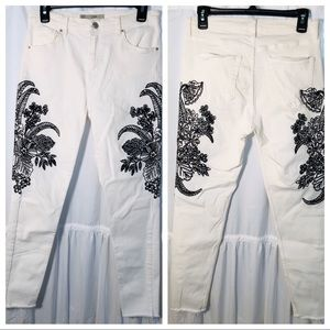 Topshop Moto Jaime crop Jeans embroidered size 30